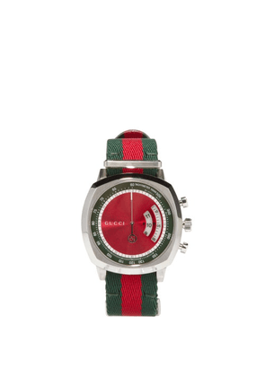Gucci - Grip Web-striped Tachymeter Watch - Mens - Green Red