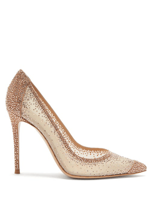 Gianvito Rossi - Crystal-embellished Organza Pumps - Womens - Gold