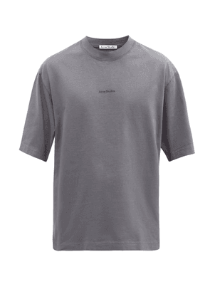 Acne Studios - Extorr Logo-embroidered High-neck Cotton T-shirt - Mens - Grey