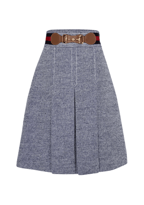 Pleated bouclé midi skirt