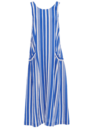 Chinti & Parker Tie-back Cutout Striped Crinkled-jacquard Midi Dress Woman Blue Size 8