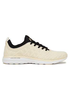 Apl® Athletic Propulsion Labs Phantom 3d Two-tone Mesh And Neoprene Sneakers Woman Cream Size 5