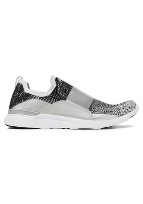 Apl® Athletic Propulsion Labs Bliss Metallic Mesh And Neoprene Slip-on Sneakers Woman Silver Size 5