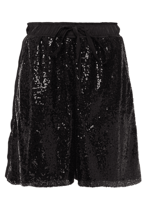 Clu Sequined Mesh-paneled Twill Shorts Woman Black Size XS