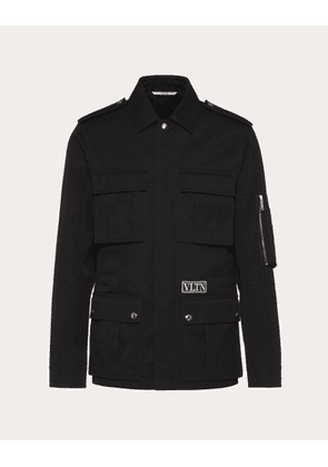 Valentino Uomo Technical Cotton Peacoat With Vltn Tag Man Black Cotton 30%, Polyester 70% 44