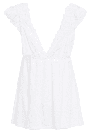Eberjey Kiss The Bride Lace-trimmed Stretch-modal Jersey Camisole Woman White Size L