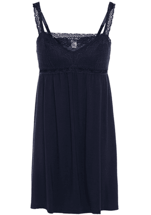 Eberjey Cecilia Lace-trimmed Stretch-modal Jersey Chemise Woman Navy Size S