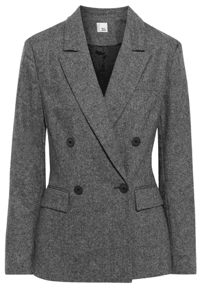 Iris & Ink Emma Double-breasted Mélange Wool-blend Blazer Woman Anthracite Size 8