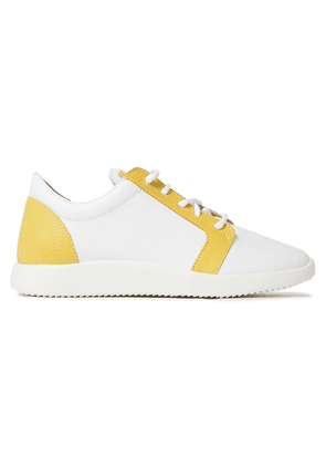 Giuseppe Zanotti Two-tone Smooth And Pebbled-leather Sneakers Woman White Size 36