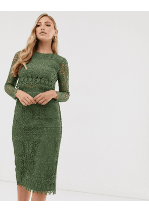 ASOS DESIGN lace long sleeve midi pencil dress-Red