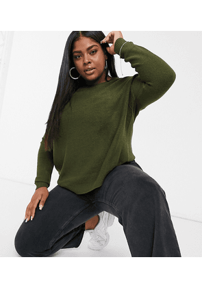 Brave Soul Plus Grunge boxy crew neck jumper-Green