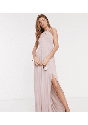 TFNC Tall bridesmaid exclusive pleated maxi dress in pink
