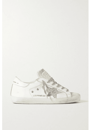 Golden Goose - Superstar Crystal-embellished Distressed Leather And Suede Sneakers - White