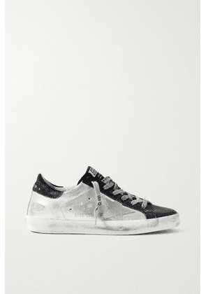 Golden Goose - Superstar Metallic Distressed Leather And Suede Sneakers - White