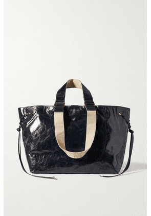 Isabel Marant - Wardy Canvas-trimmed Crinkled Glossed-leather Tote - Black
