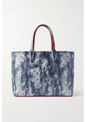 Christian Louboutin - Cabata Large Spiked Printed Textured-leather Tote - Blue