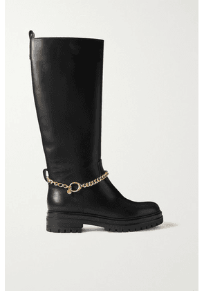 Gianvito Rossi - Chain-embellished Leather Knee Boots - Black