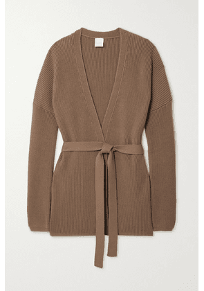 Max Mara - + Leisure Belted Ribbed Cotton-blend Cardigan - Beige