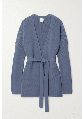 Max Mara - + Leisure Belted Ribbed Cotton-blend Cardigan - Blue