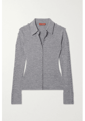 Altuzarra - Hill Button-embellished Ribbed Wool-blend Cardigan - Gray