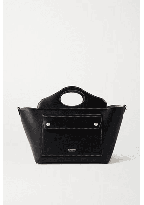 Burberry - Mini Topstitched Leather Tote - Black