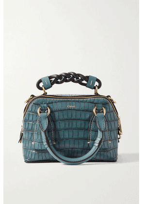 Chloé - Daria Small Croc-effect And Smooth Leather Tote - Blue