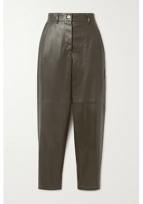 Brunello Cucinelli - Leather Tapered Pants - Army green