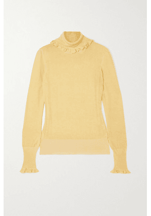 Victoria Beckham - Ruffled Knitted Turtleneck Sweater - Pastel yellow