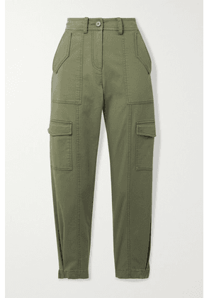 Derek Lam 10 Crosby - Elian Cropped Cotton-blend Twill Tapered Cargo Pants - Army green