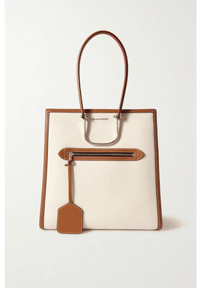 Alexander McQueen - The Tall Story Leather-trimmed Canvas Tote - Tan