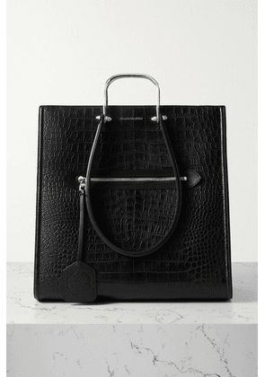 Alexander McQueen - The Tall Story Large Croc-effect Leather Tote - Black