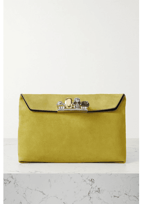 Alexander McQueen - Four Ring Embellished Suede Pouch - Green