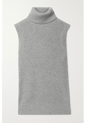 Michael Kors Collection - Ribbed Mélange Cashmere Turtleneck Tank - Light gray