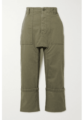 R13 - Utility Cropped Cotton Pants - Army green