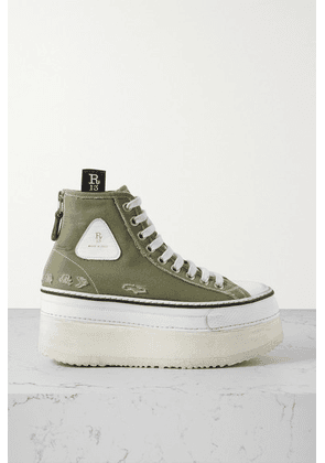 R13 - Grosgrain-trimmed Distressed Canvas Platform High-top Sneakers - Army green