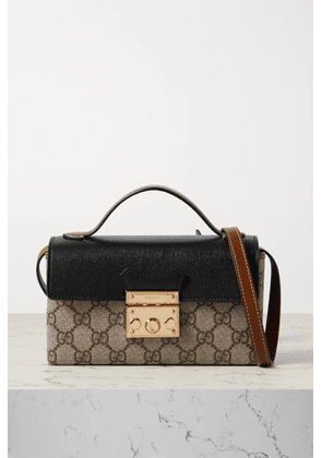 Gucci - Padlock Leather And Printed Coated-canvas Tote - Black