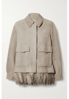 Brunello Cucinelli - Feather-trimmed Bead-embellished Nubuck Jacket - Gray green