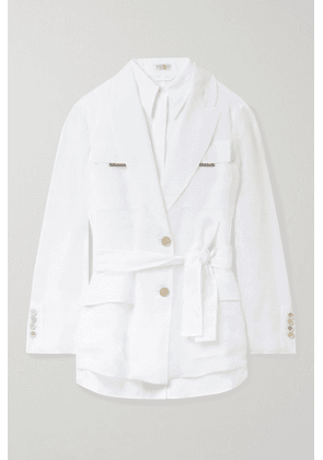 Brunello Cucinelli - Belted Bead-embellished Silk And Linen Jacket - White