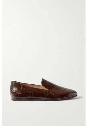 Tod's - Croc-effect Leather Loafers - Brown