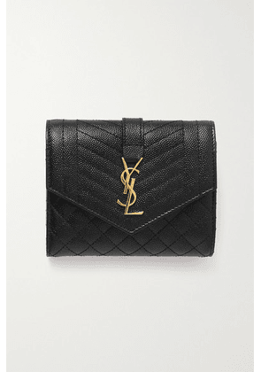 SAINT LAURENT - Envelope Quilted Textured-leather Wallet - Black