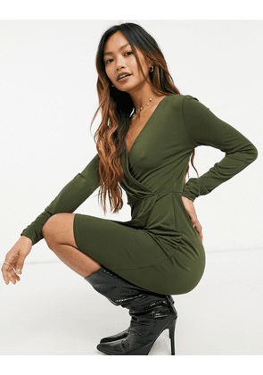 French Connection slinky wrap dress in olive-Green