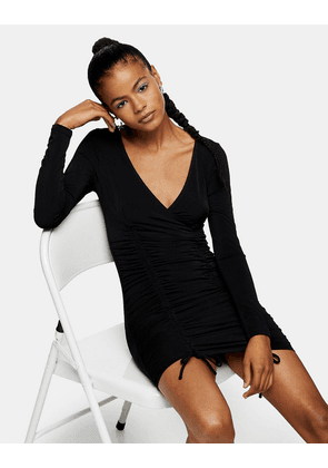 Topshop ruched side slinky mini dress in black