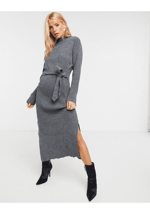 Unique21 roll neck maxi jumper dress in grey