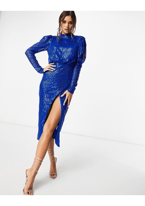 I Saw It First high neck side split sequin midi dress in blue