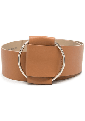 D.Exterior buckle-fastening leather belt - Brown