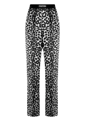 TOM FORD leopard print pajama-style trousers - Black