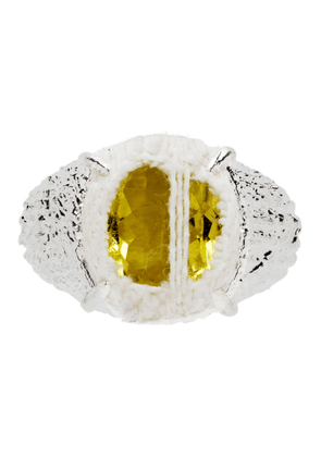 SWEETLIMEJUICE SSENSE Exclusive Silver and Yellow Denim Oval Planet Signet Ring