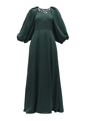 Ssone - White Moon Crystal-appliqué Upcycled Satin Gown - Womens - Dark Green