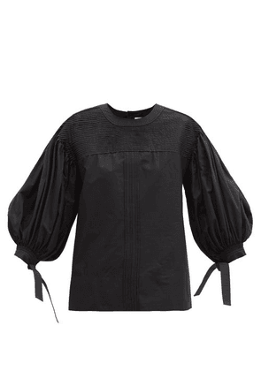 Jil Sander - Tie-cuff Pintucked Cotton Blouse - Womens - Black
