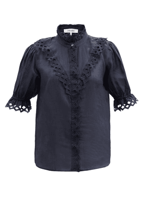 Frame - Broderie-anglaise Ramie Blouse - Womens - Navy